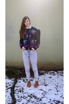 blue vintage sweater - blue H&M jeans - brown Urban Outfitters shoes - gold H&M