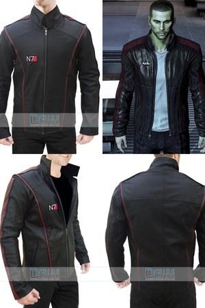 burnt orange leather BLACK LEATHER MASS EFFECT 3 N7 JACKET jacket