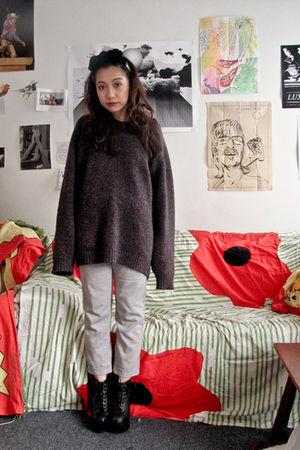 thrifted sweater - Jeffrey Campbell shoes - little fille accessories