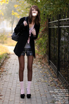 gray Promod bag - gray kira plastinina shorts - light pink flea market socks