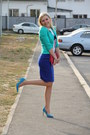 Turquoise-blue-new-yorker-jacket-hot-pink-marc-by-marc-jacobs-bag