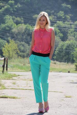 turquoise blue Topshop pants