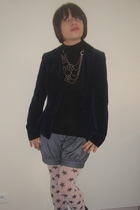 Naf-Naf vintage jacket - Bel Air shorts - London website panties - homemade neck