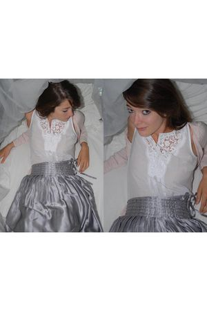 beige Sophie Solut cardigan - white H&M blouse - silver Stella Cadente skirt