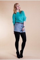 turquoise blue allegro sweater - sky blue vintage shorts