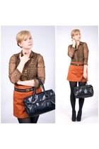 burnt orange new look skirt