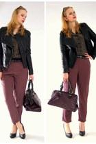 black carry jacket - purple New Yorker bag - purple Marks&Spencer pants
