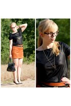 burnt orange new look skirt