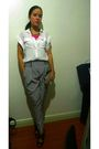 White-zara-blouse-gray-zara-pants-black-mango-shoes-pink-accessorize-neckl