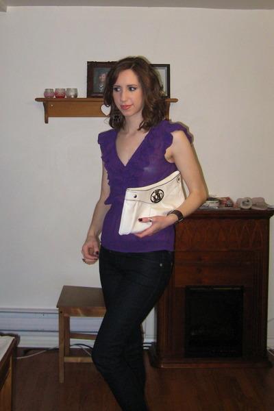 white XOXO purse - purple H&M blouse - black Impo boots - blue Guess jeans