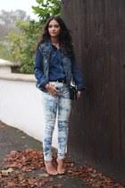 navy Urban Outfitters jeans - navy Zara jacket - blue denim shirt Zara shirt