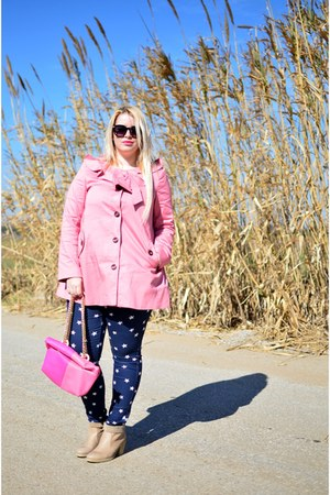 light pink Boohoo coat - H&M pants