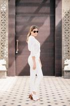 white Zara shoes - dark brown aviators Ralph Lauren sunglasses
