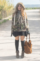 green pull&bear jacket - olive green new look boots - eggshell River Island hat