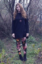 red new look leggings - black Peacocks boots - black Dorothy Perkins dress