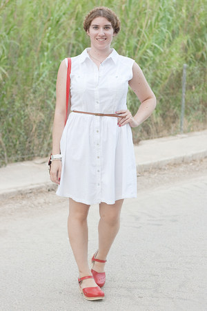 white Primark dress - red Sven Clogs clogs