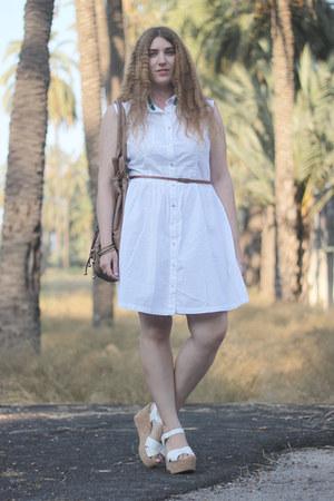 white Primark dress - brown New Life bag - white Laocoonte heels
