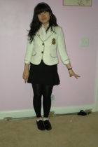 blouse - blazer - skirt - shoes - tights