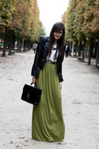 long maxi skirt - black leather jacket - white blouse shirt - bag