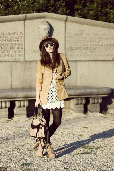 black H&M stockings - leather look coat - brown hat - black and nude bag