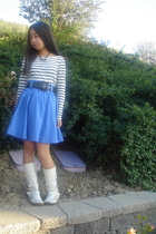 blue H&M skirt - white H&M shirt