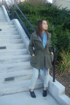green Forever 21 coat - black payless shoes - blue random from Hong Kong scarf