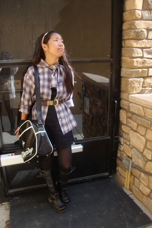 purple vintage shirt - brown vintage belt - black Topshop purse