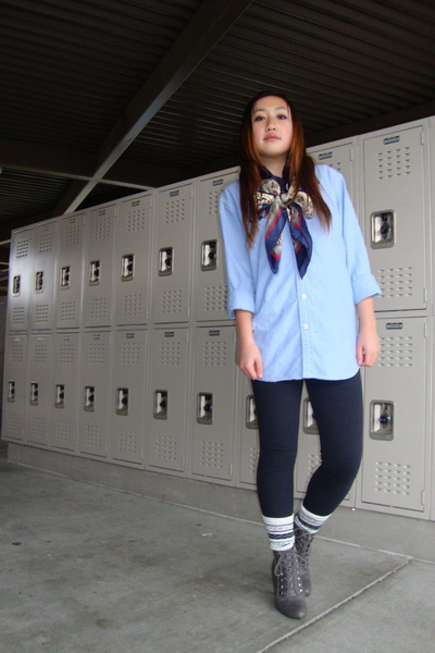 blue American Eagle shirt - blue vintage scarf - gray Forever 21 shoes