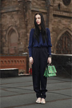 chartreuse Topshop bag - navy twinkle pants - blue Topshop blouse - light pink Z