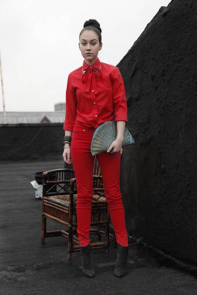 vintage bag - tailor made blouse - maison martin margiela heels - Zara pants