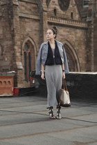 heather gray H&M dress - periwinkle H&M jacket - brown Louis Vuitton bag
