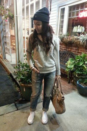 Ralph Lauren jeans - Urban Outfitters hat - J Crew sweater - Converse sneakers
