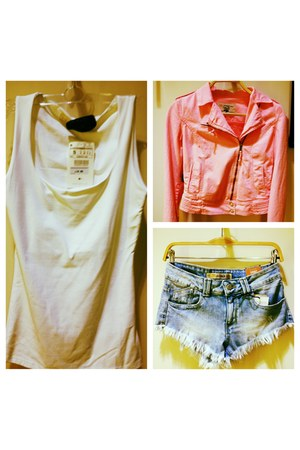 bubble gum Zara jacket - sky blue Zara shorts - white Zara top