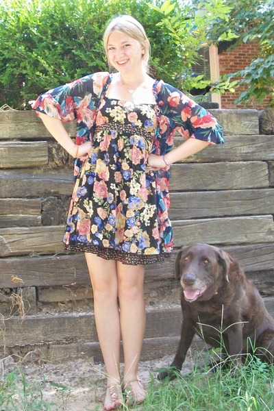 black American Rag dress - blue abercrombie and fitch shirt - gold Old Navy shoe
