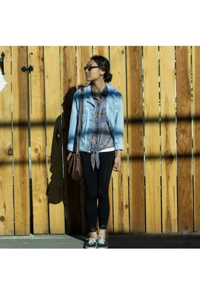 sky blue Bill Blass denim jacket - black thrifted lace leggings