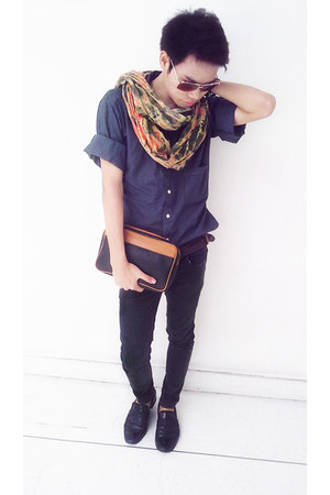 shoes - The dude jeans - DKNY shirt - scarf - leather bag Valentino Garavani bag