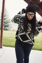 black slouchy beanie asos hat - black aztec Chicwish sweater