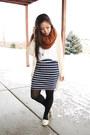 Burnt-orange-asos-scarf-navy-stripes-forever-21-skirt