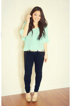 aquamarine mint flowy top the impeccable pig top - black American Eagle jeans