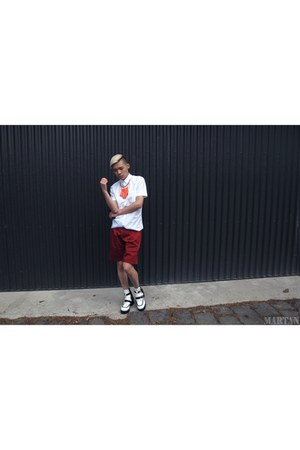 white Jeffrey Campbell boots - white Zara shirt - ruby red Zara shorts