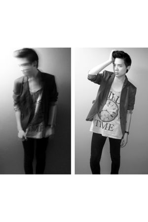 silver Who Am Eye t-shirt - black JayJays jeans - gray Zara blazer