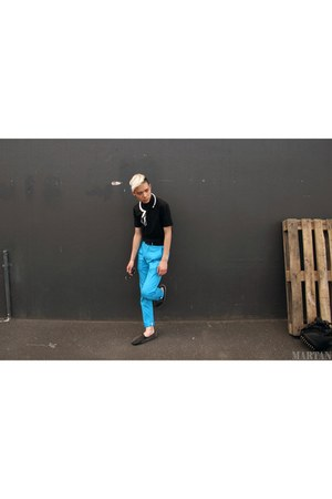 black Zara shirt - black Ksubi sunglasses - turquoise blue Peoples Market pants