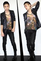 burnt orange galaxy tank Christopher Kane top - black high boots zipia boots