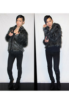 bardot jeans - black faux fur jacket asos jacket - suede wedges rubi wedges - de