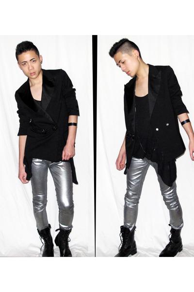 silver Zara jeans - black zipia boots - black LANVIN & H&M blazer