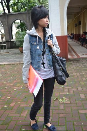 black Dorothy Perkins bag - denim Forever 21 jacket - black Zara pants