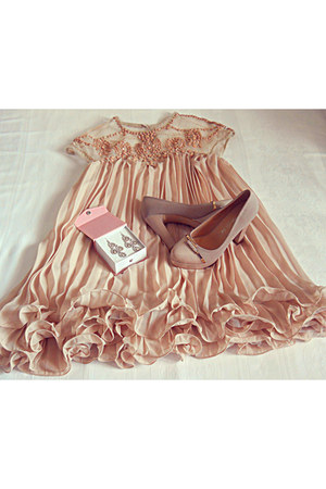 zara shoes - nude chic wish dress - earrings