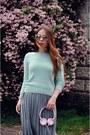Light-blue-sweater-teal-skirt