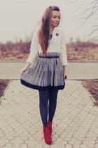 red boots - black skirt - ivory cardigan