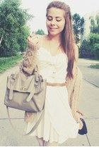 white asos dress - heather gray bag - camel cardigan